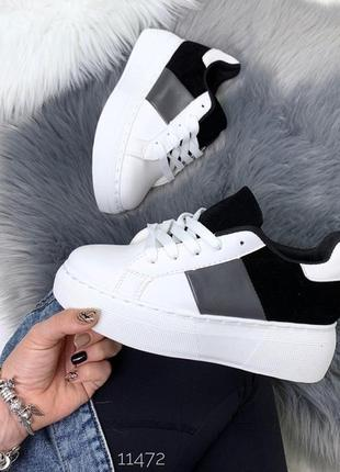 Белые кроссовки с чёрными вставками, белые кроссовки на платфо...