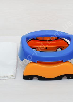 Дорожный горшок накладка на унитаз Potette Plus 2в1 (синий)
