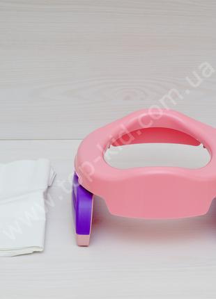 Дорожный горшок накладка на унитаз Potette Plus  2в1 (розовый)