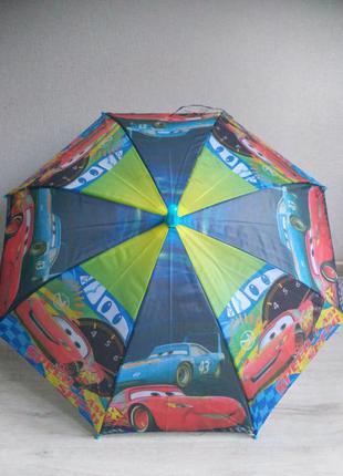 Яркий зонт для мальчика 2-6 лет тачки макквин