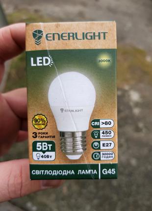 Лампа LED 5W 3000K E27 Enerlight