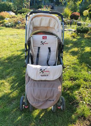 Прогулочная бежевая коляска книжка лёгкая складная caddy quatro