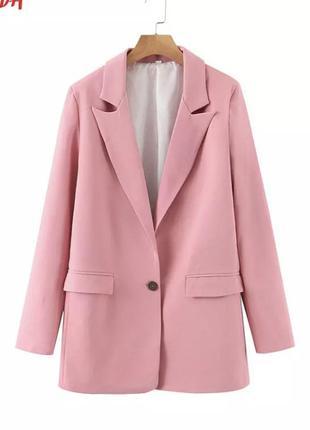 Жакет пиджак удлинённый розовый оверсайз