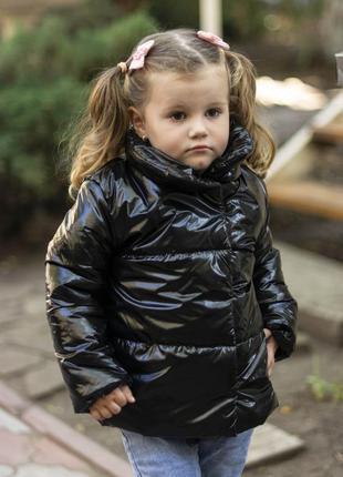 Куртка детская чёрная для девочки демисезонная