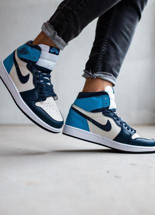 Кроссовки jordan 1 retro high patent blue toe найк джордан синие