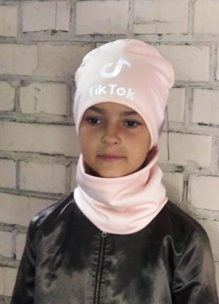 Комплект шапка и хомут, нежно розовый цвет, утепленный, принт ...