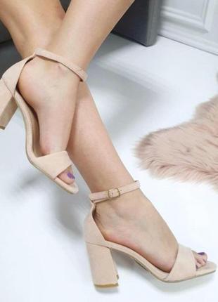 Бежевые замшевые босоножки на каблуке, нюдовые замшевые босоно...