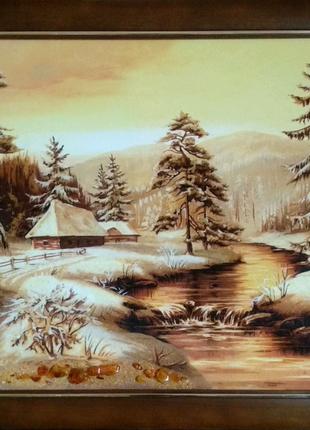 """Картина из янтаря """"Зима"""""""