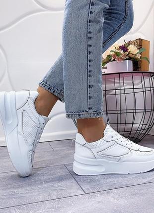 Шикарные белые кроссовки на высокой подошве,белые кроссовки с ...