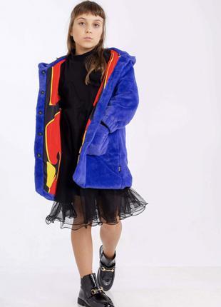 Пальто меховое с ушками на капюшоне JOJO