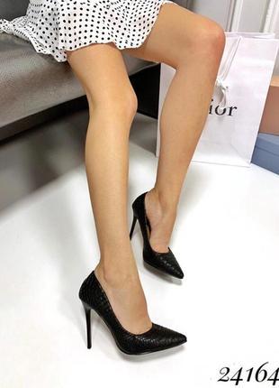 Чёрные туфли лодочки под питона, туфли на высоком каблуке под ...