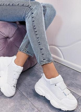 Белые массивные кроссовки на высокой подошве, белые кроссовки ...