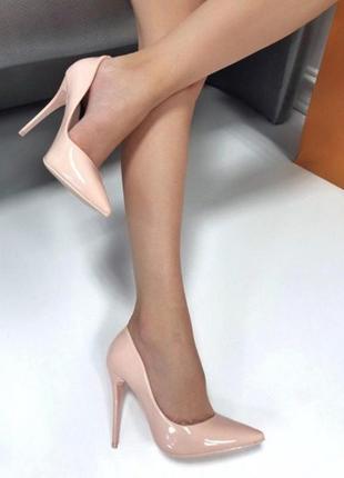 Пудровые туфли лодочки на каблуке, туфли лодочки на шпильке.