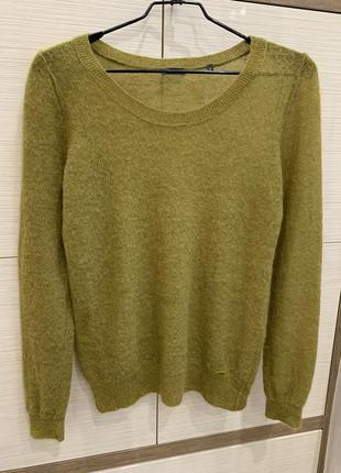 Потрясающий стильный шерстяной мохеровый свитер джемпер хаки з...
