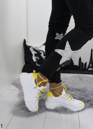 Белые кроссовки с жёлтыми вставками, белые кроссовки с жёлтой ...