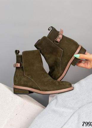 ❤ женские оливковые нубуковые осенние демисезонные ботинки бот...