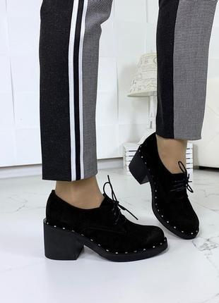 Чёрные замшевые туфли на каблуке,туфли из натуральной замши на...