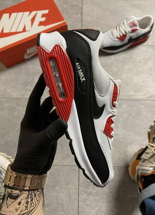 Мужские кроссовки nike air max 90 black white red