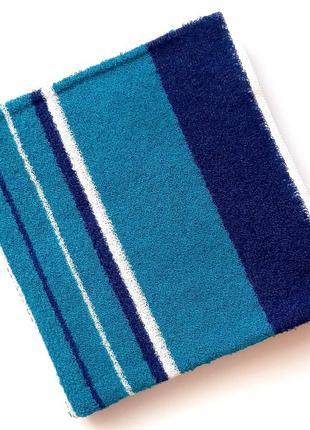 Полотенце лицевое махровое полосатое бирюзовый с синим 100*50