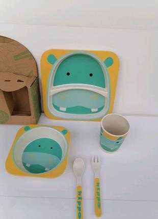 Набор детской посуды. Бамбуковая посуда.