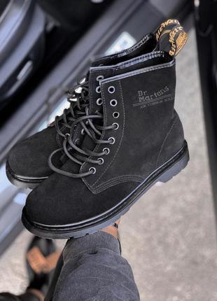 Ботинки замшевые без меха с логотипом dr.martens 1460 black su...