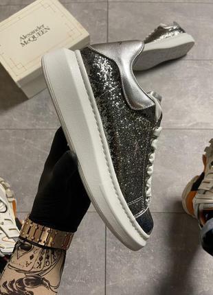 "💎alexander mcqueen silver ""leather trimmed glitter💎женские кро..."
