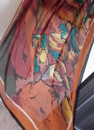 Большой шелковый платок в цветах осени 109*109/100% шелк, шов ...