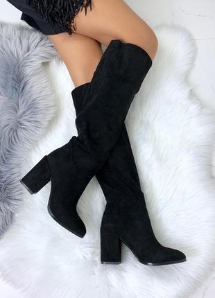 Шикарные замшевые сапоги на каблуке,замшевые чёрные демисезонн...