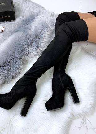 Замшевые сапоги ботфорты на каблуке,высокие замшевые сапоги чу...
