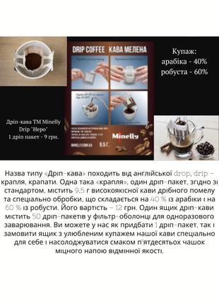 Кофе Minelly. В зернах/мелена/дріп-пакетах/капсулах