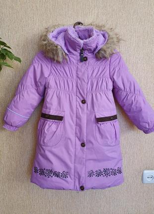 Яркий качественный зимний комплект, пальто и шапка lenne