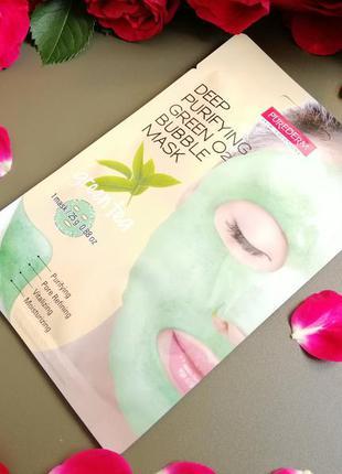 Кислородная тканевая маска purederm с зеленым чаем