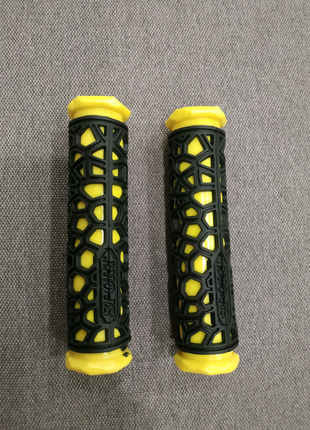 Грипсы на велосипед, ручки руля желто-черные