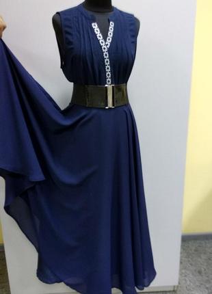 Kirsty couture длинная  синяя юбка солнце -клеш + топ рs