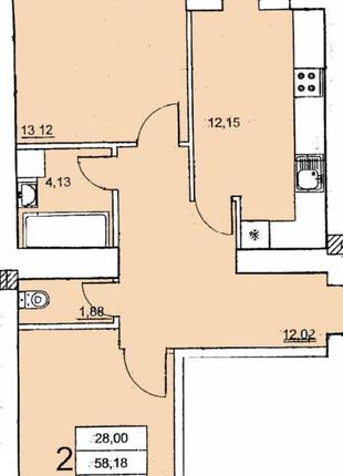 В продаже 2-комнатная квартира в новом современном комплексе