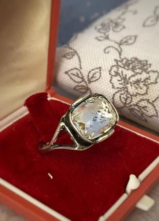 Перстень кольцо серебро 925 пробы горный хрусталь