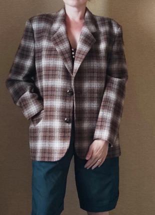 Трендовый шерстяной пиджак жакет блейзер в клетку шерсть
