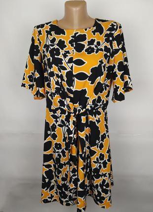 Платье красивое желтое в принт papaya uk 14/42/l