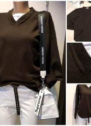 Стильный брэндовый коричневый джемпер свитер кофта пуловер