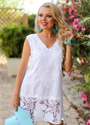 Пляжная белая туника платье из натурального хлопка  испания