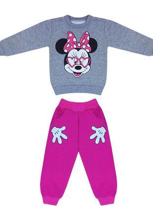 Детский костюм для девочки минни с начесом трехнитка