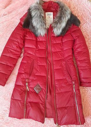 Дутик пальто пуховик куртка зимняя чернобурка с мехом на капюшоне
