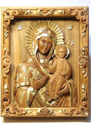 Миниатюрная резная икона Смоленской Богородицы