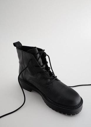 Кожаные ботинки zara,короткие ботинки на шнурках