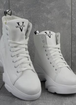 Новые женские зимние белые кожаные ботинки