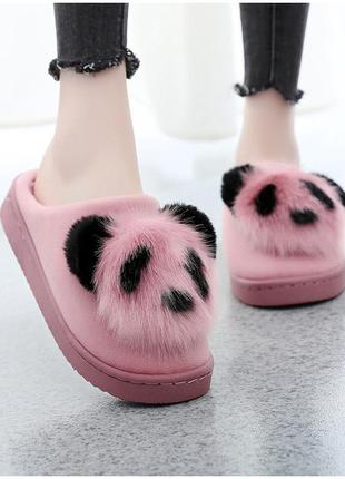 Тапочки домашние женские комнатные. теплые меховые тапки панды