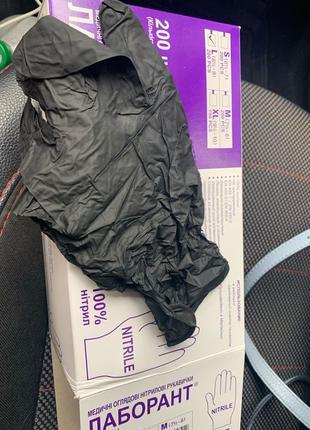 Перчатки чёрные нитриловые защитные для рук. нитрил, латекс,