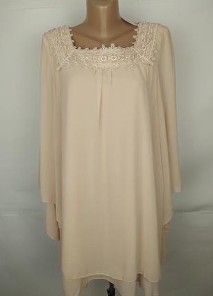 Платье новое бежевое шикарное шифоновое с кружевом uk 14/42/l