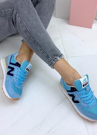 Натуральная замша люксовые кроссовки  небесно-голубого цвета