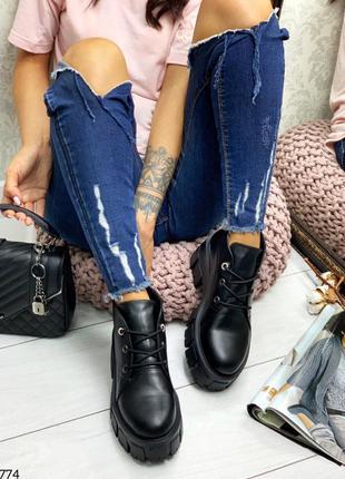Демисезонные чёрные кожаные ботинки итальянская байка